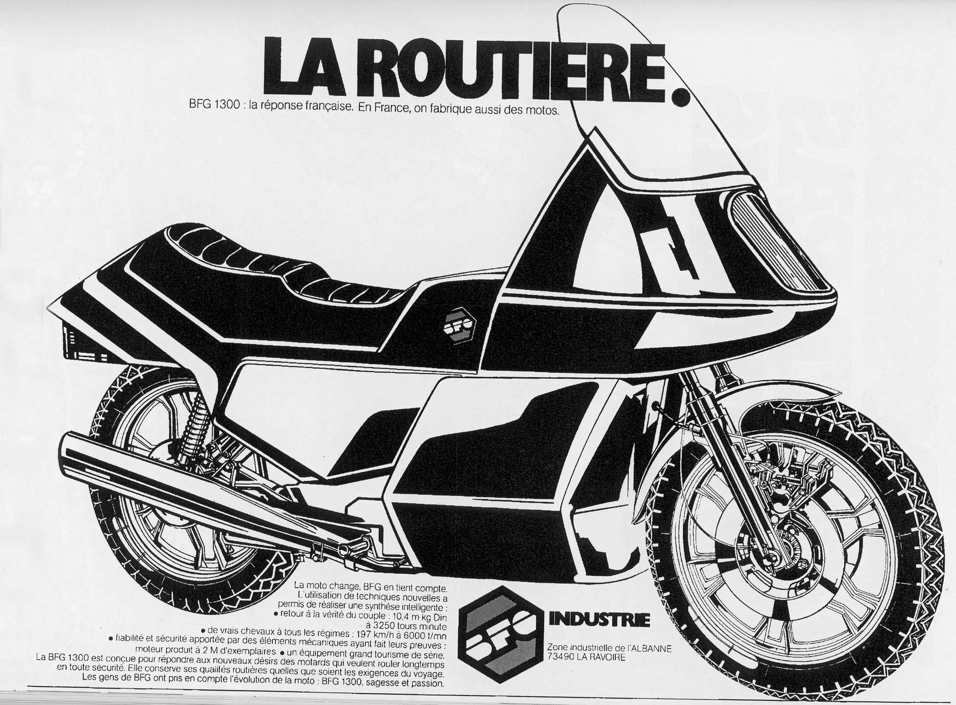 BFG:n mainos vuoden 1980 moottoripyöränäyttelyyn. Näyttelyssä esiintyneen pyörän kate oli kuvan mukaisesti huomattavasti lopullisen tuotantomallin katetta suurempi.
