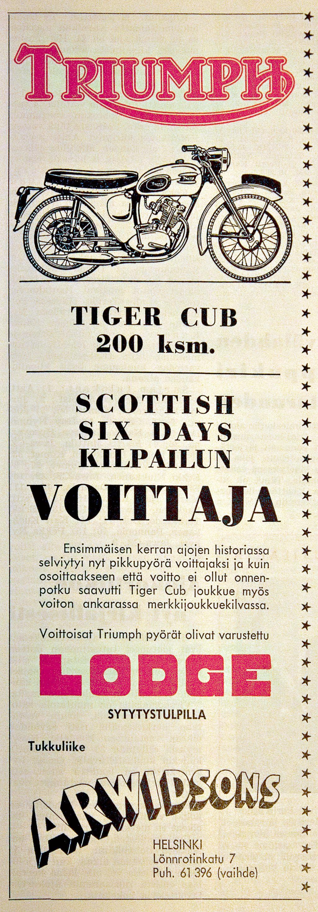 Triumph Tiger Cub Arwidsonin mainoksessa, joka ilmestyi Moottoriurheilulehdessä 1958.
